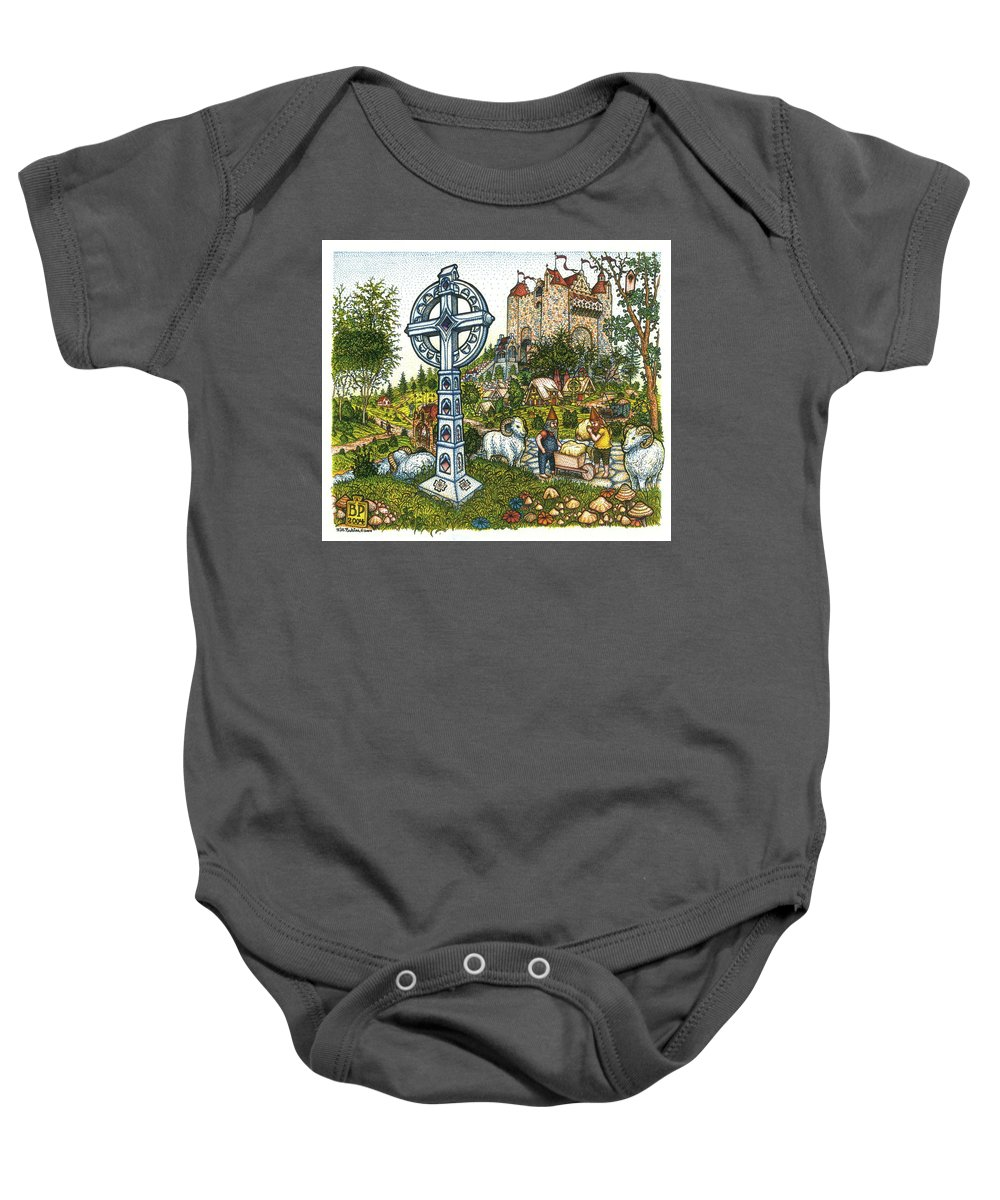 Castle Baby Onesie featuring the drawing Castle Cross by Bill Perkins