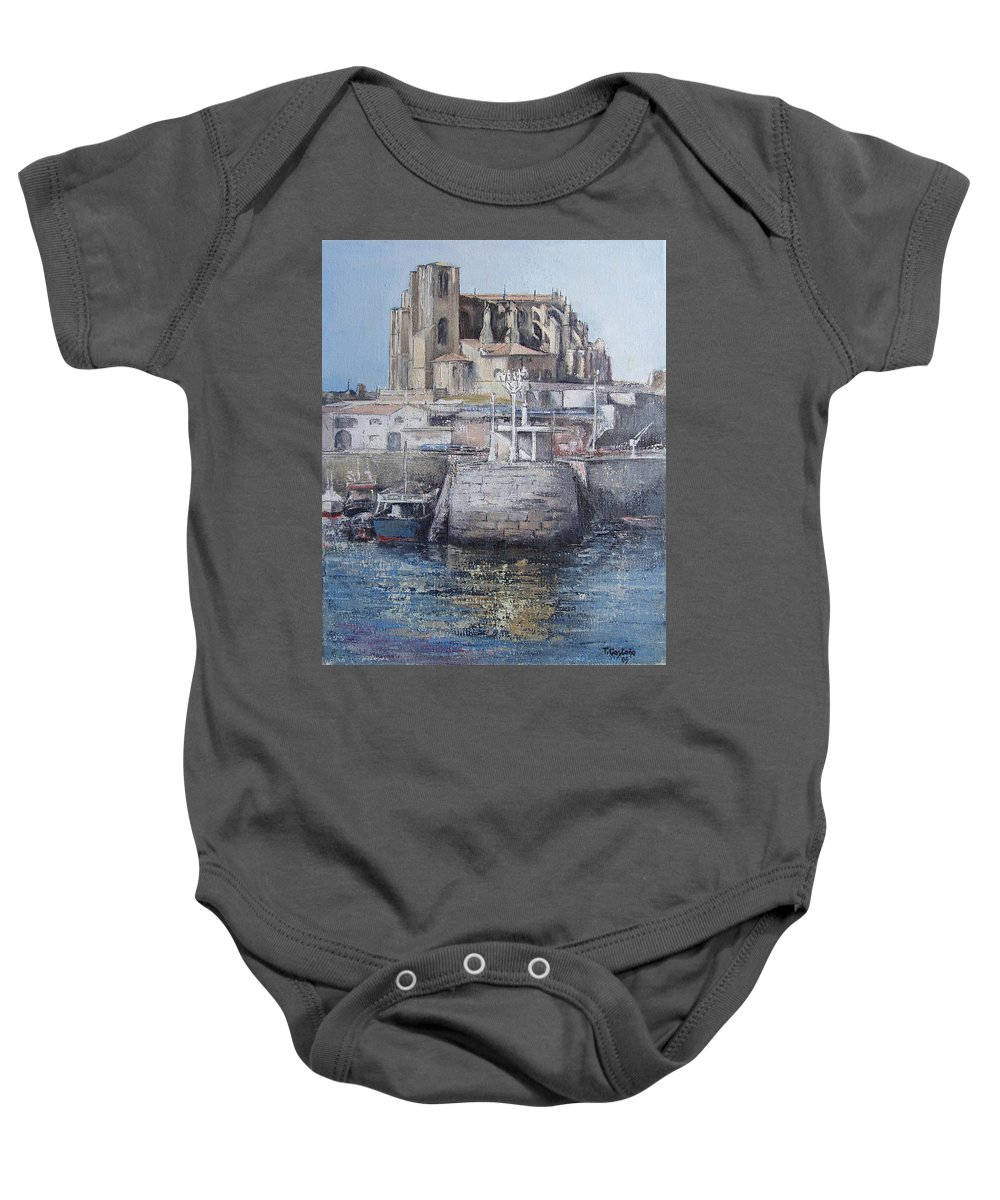 Castro Baby Onesie featuring the painting Castro Urdiales by Tomas Castano