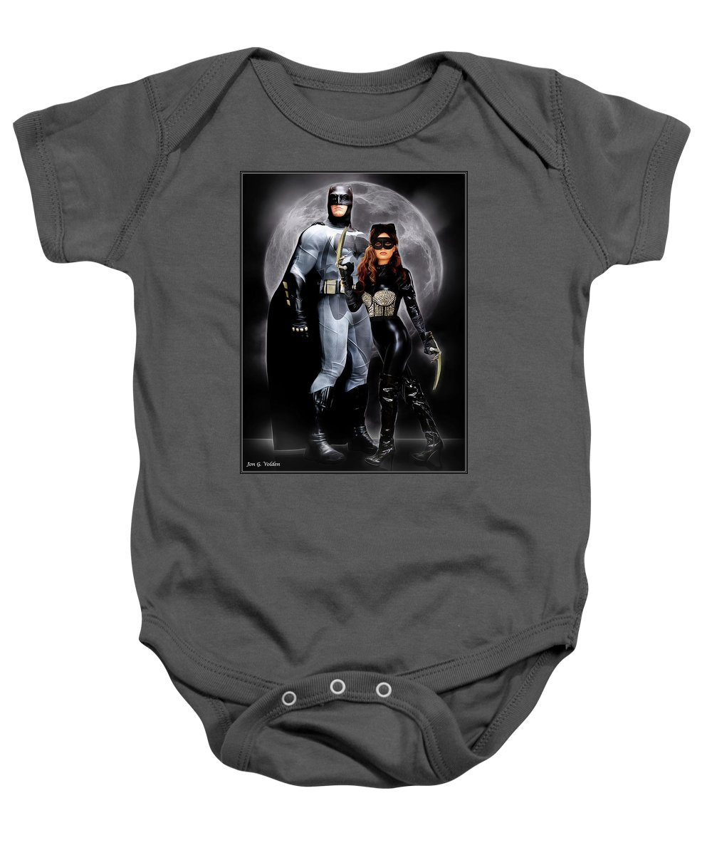 Cat Woman Baby Onesie featuring the photograph Cat And Bat by Jon Volden