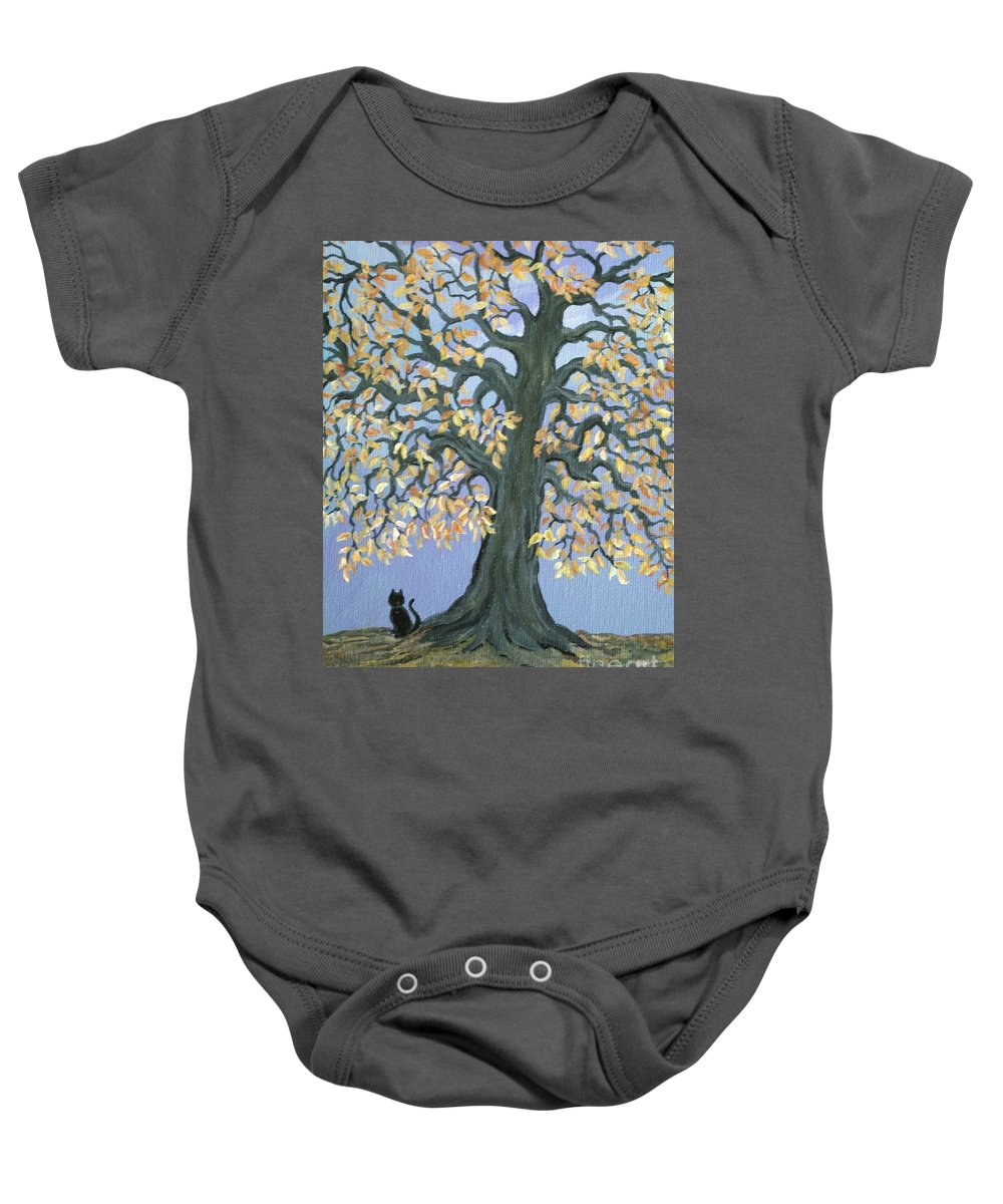 Cat Baby Onesie featuring the painting Cat And Crow by Nick Gustafson