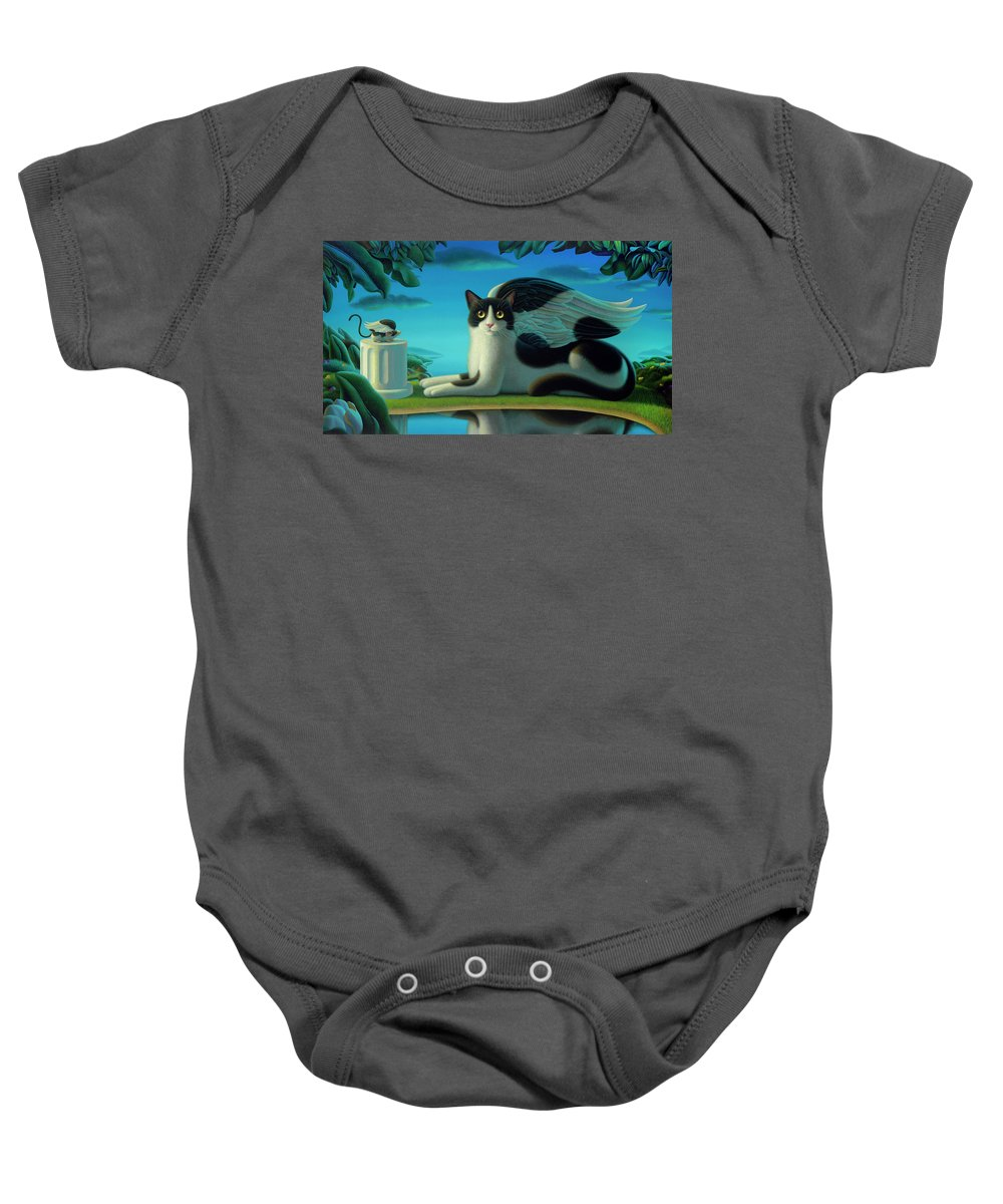 Cat Baby Onesie featuring the painting Cat And Mouse 2 by Chris Miles