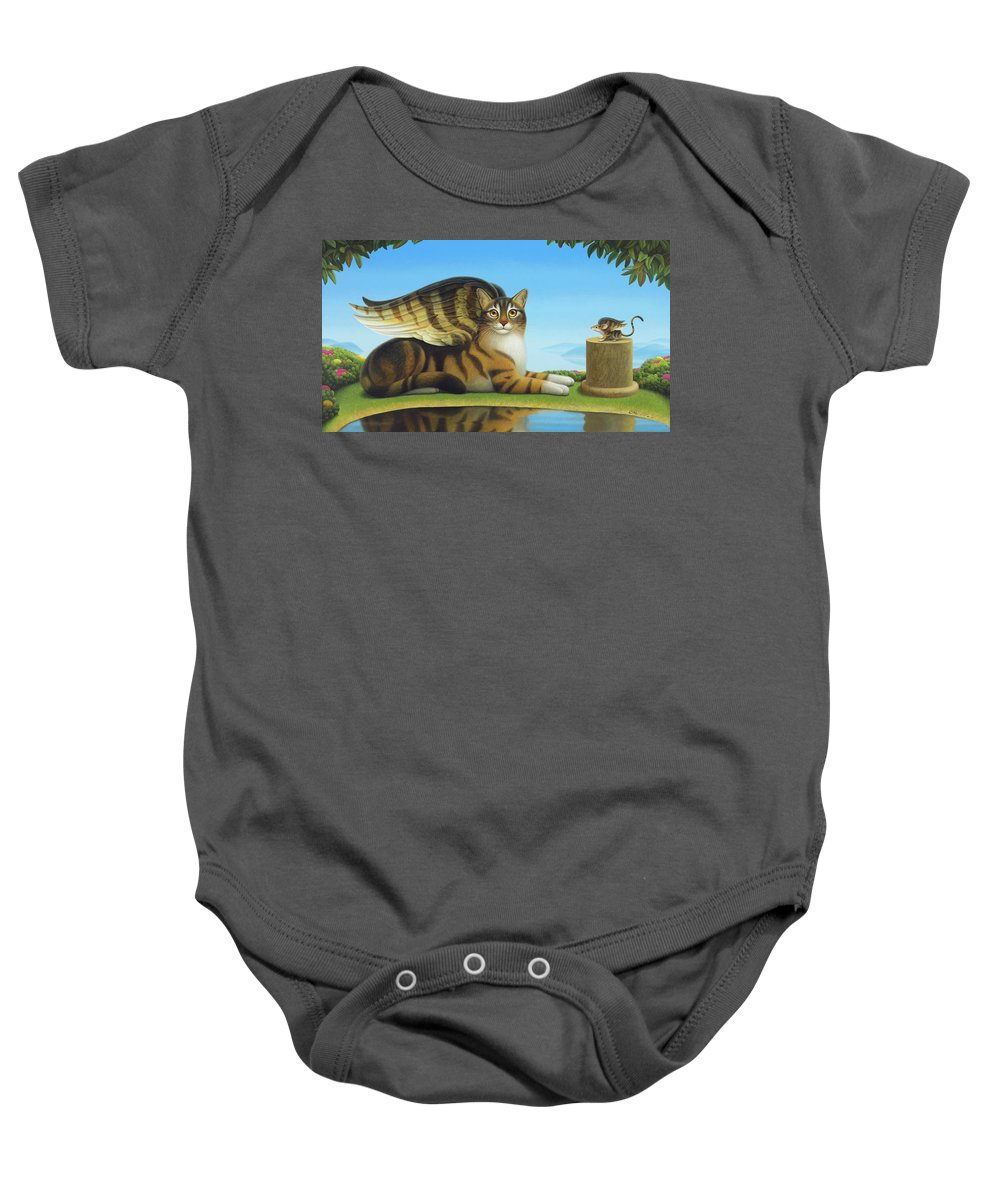 Cat Baby Onesie featuring the painting Cat And Mouse by Chris Miles