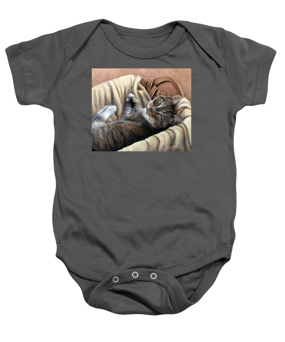 Animal Baby Onesie featuring the pastel Cat In A Basket by Susan Jenkins