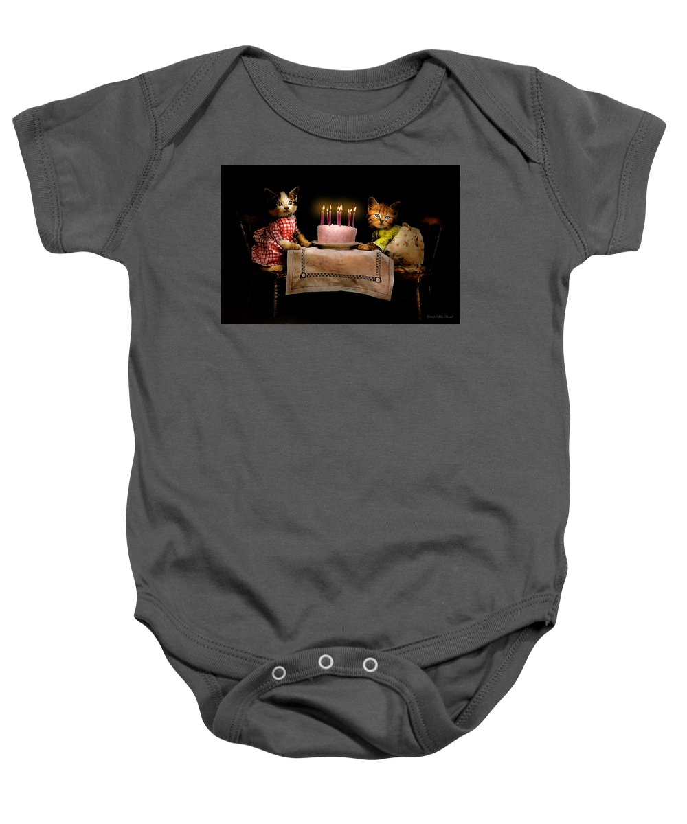 Cat Baby Onesie featuring the photograph Cat - It's Our Birthday - 1914 by Mike Savad