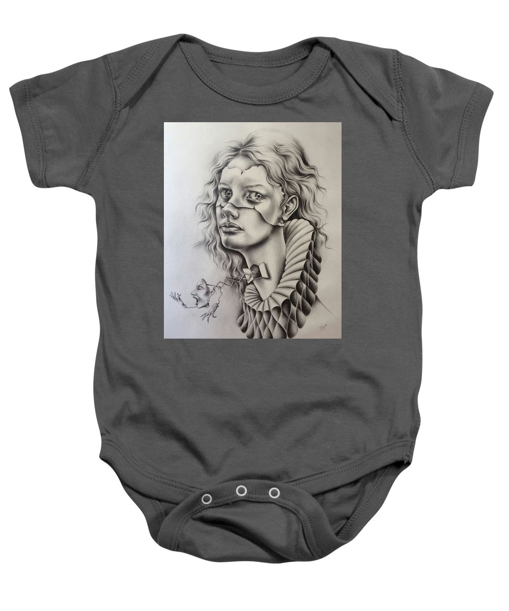 Portrait Baby Onesie featuring the drawing Catarsis by Dulce Luna