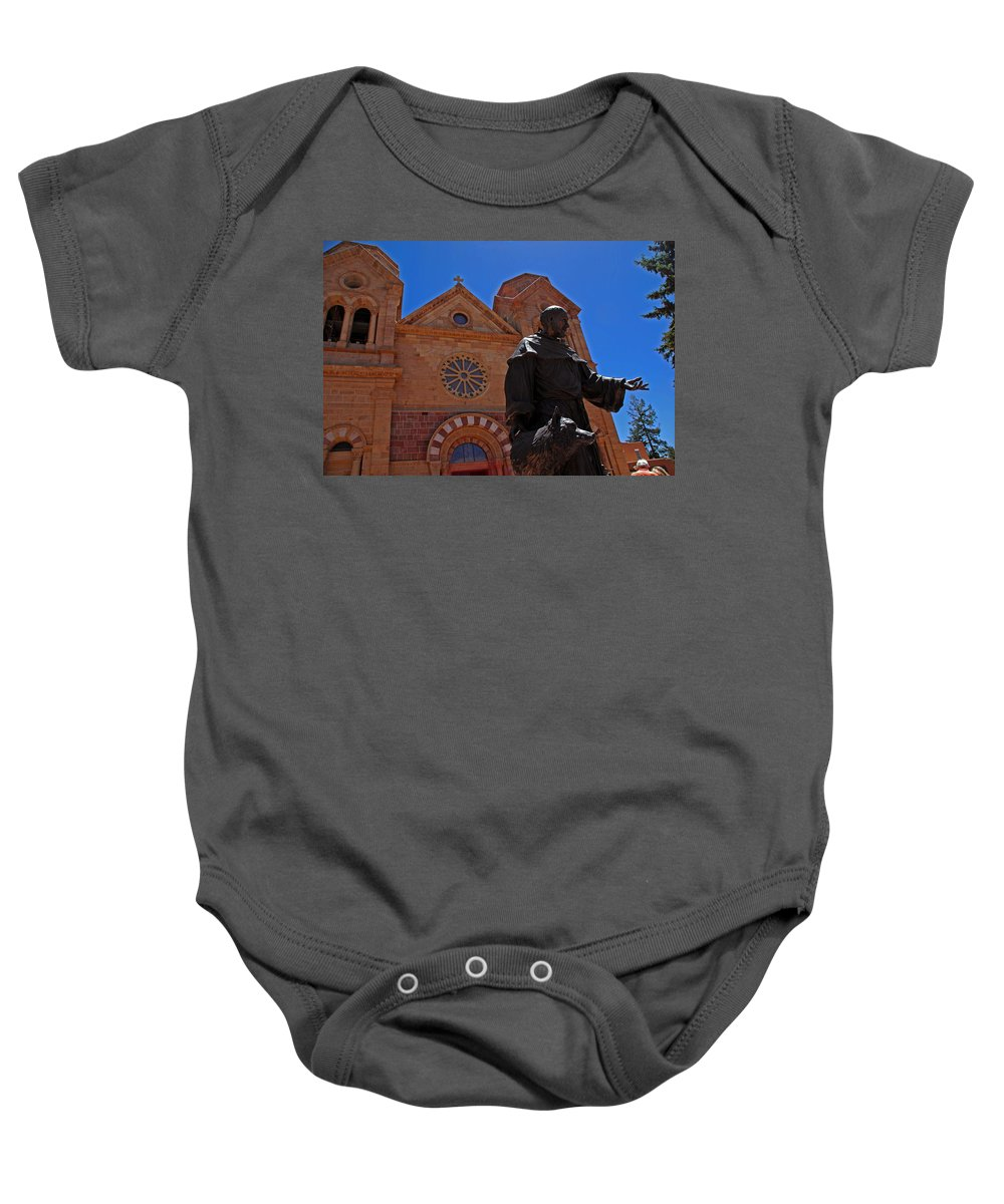 Architecture Baby Onesie featuring the photograph Cathedral Basilica In Santa Fe by Susanne Van Hulst