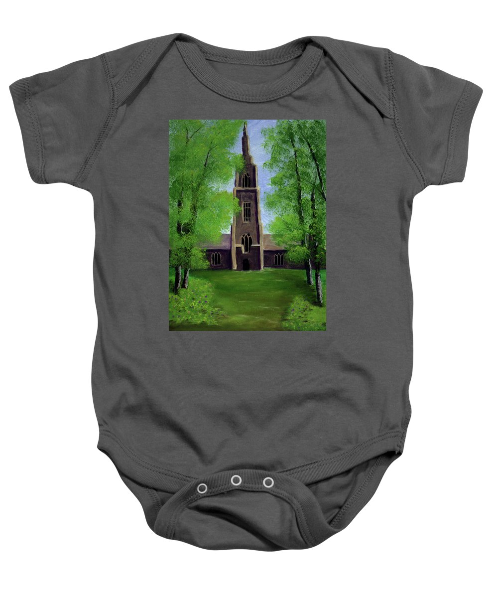 Cathedral Baby Onesie featuring the painting Cathedral by Dawn Blair