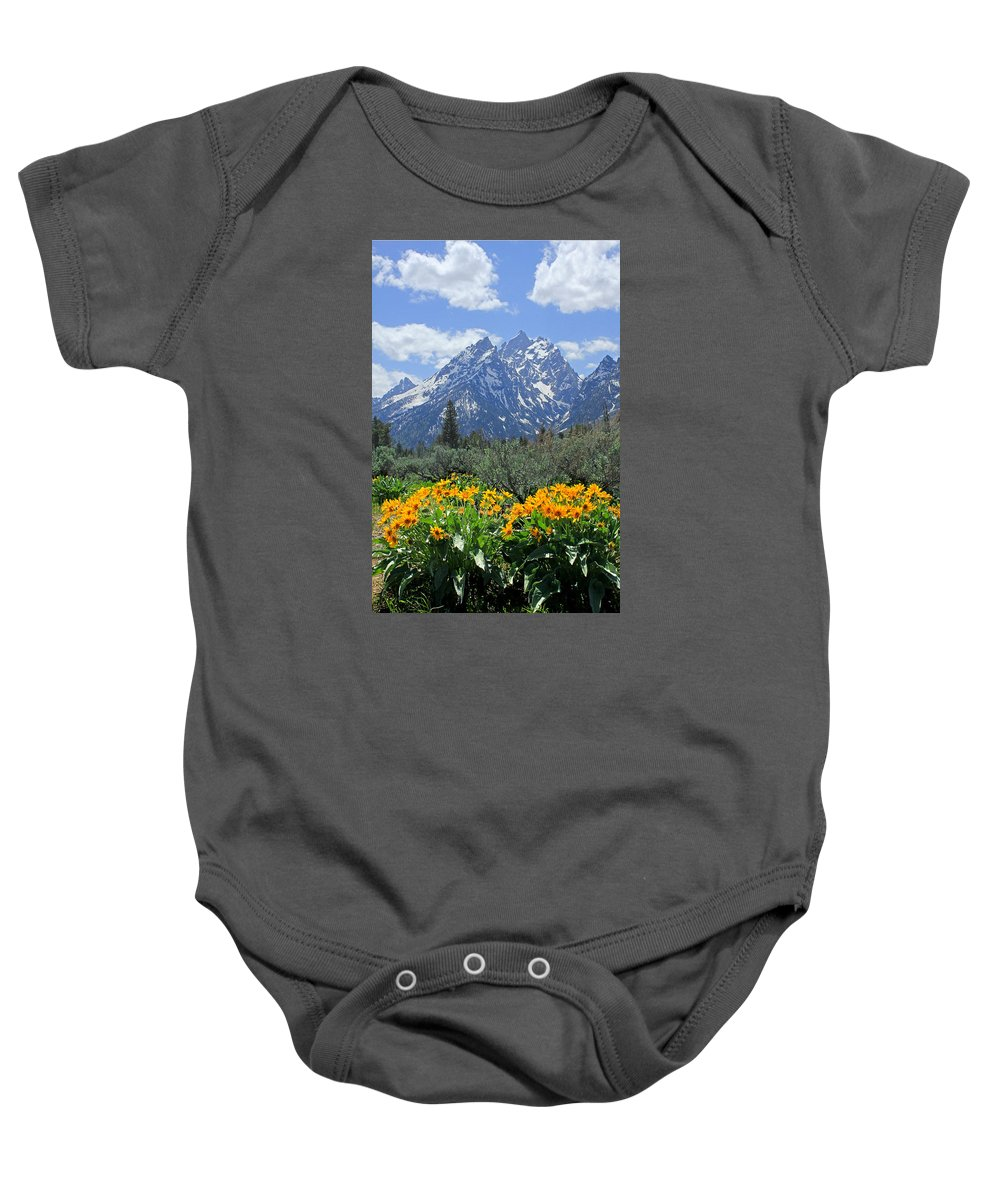 Mt. Moran Baby Onesie featuring the photograph Dm9328-cathedral Group Tetons by Ed Cooper Photography