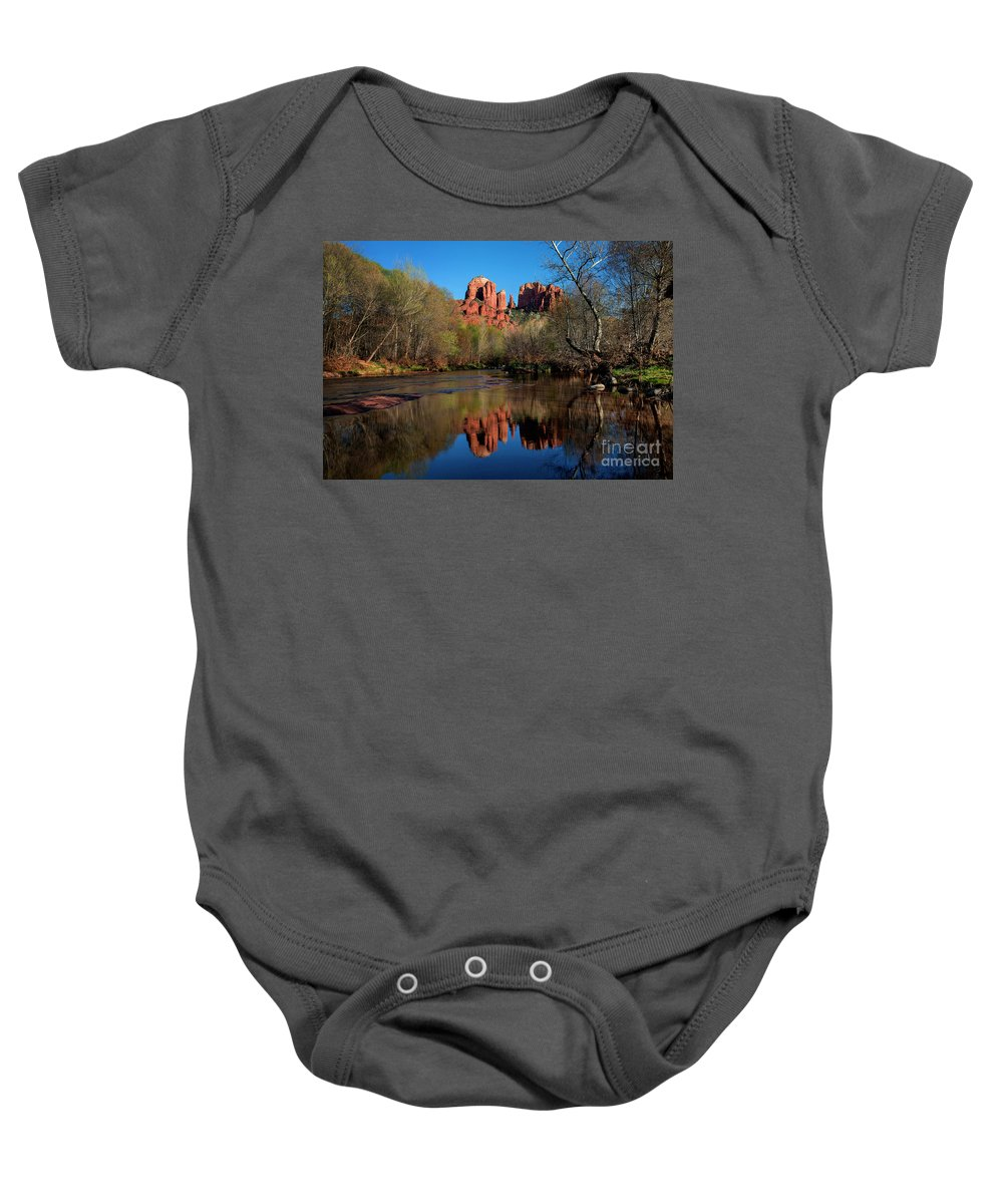 Cathedral Rock Reflection In Oak Creek Baby Onesie featuring the photograph Cathedral Rock Reflection In Oak Creek by Yefim Bam