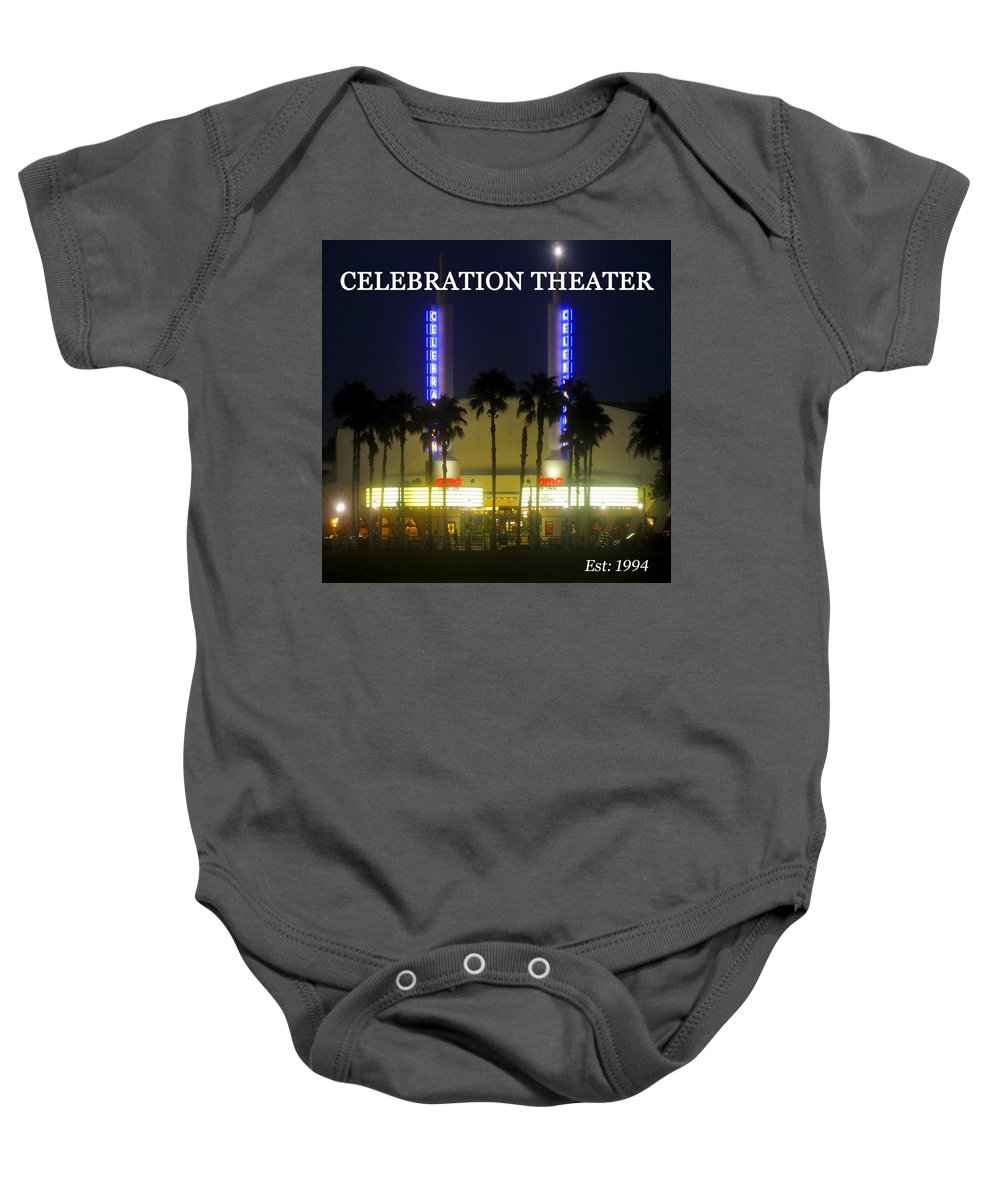 Celebration Theater Baby Onesie featuring the photograph Celebration Movie Theater 1994 by David Lee Thompson