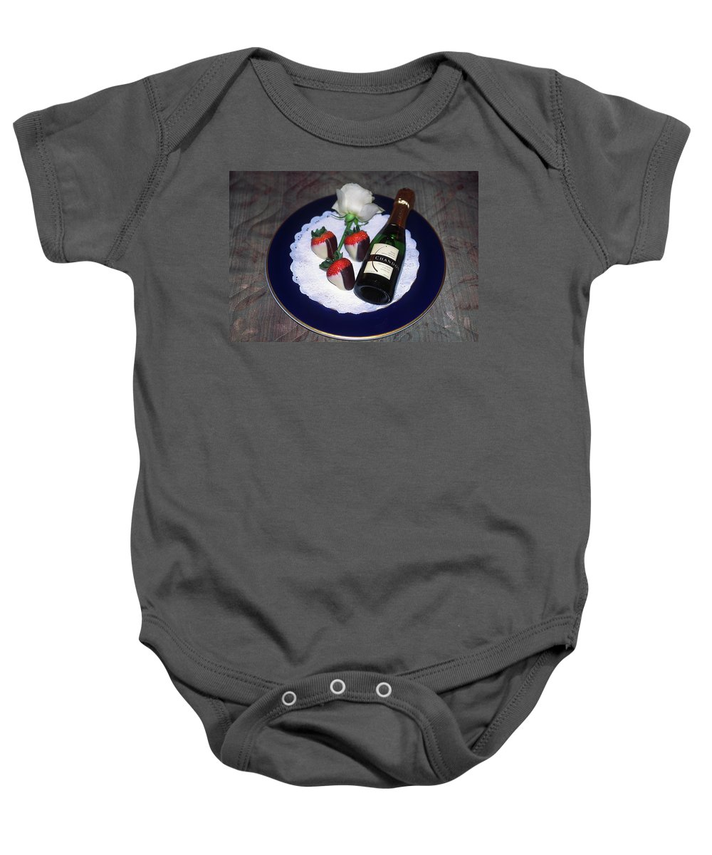 Champagne Bottle Baby Onesie featuring the photograph Celebration Plate by Sally Weigand