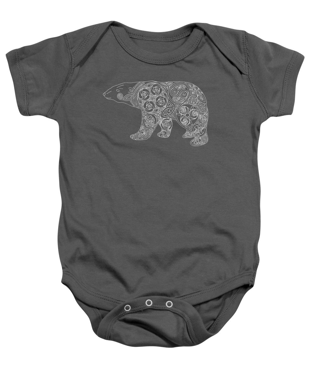 Artoffoxvox Baby Onesie featuring the photograph Celtic Polar Bear by Kristen Fox