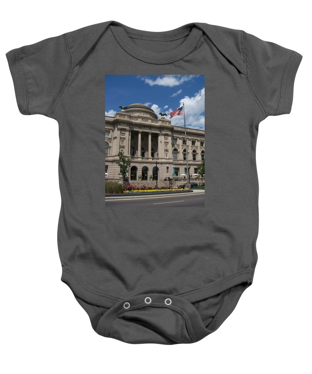 Central Library Baby Onesie featuring the photograph Central Library Milwaukee by Anita Burgermeister