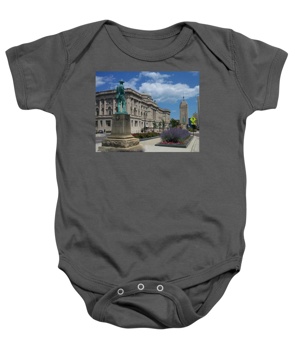 Central Library Baby Onesie featuring the photograph Central Library Milwaukee Street View by Anita Burgermeister