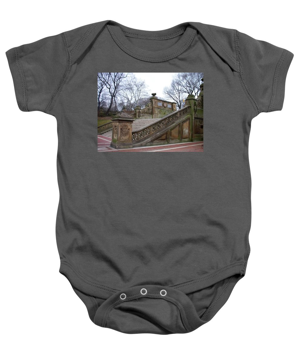 Central Park Baby Onesie featuring the photograph Central Park Bethesda 1 by Anita Burgermeister