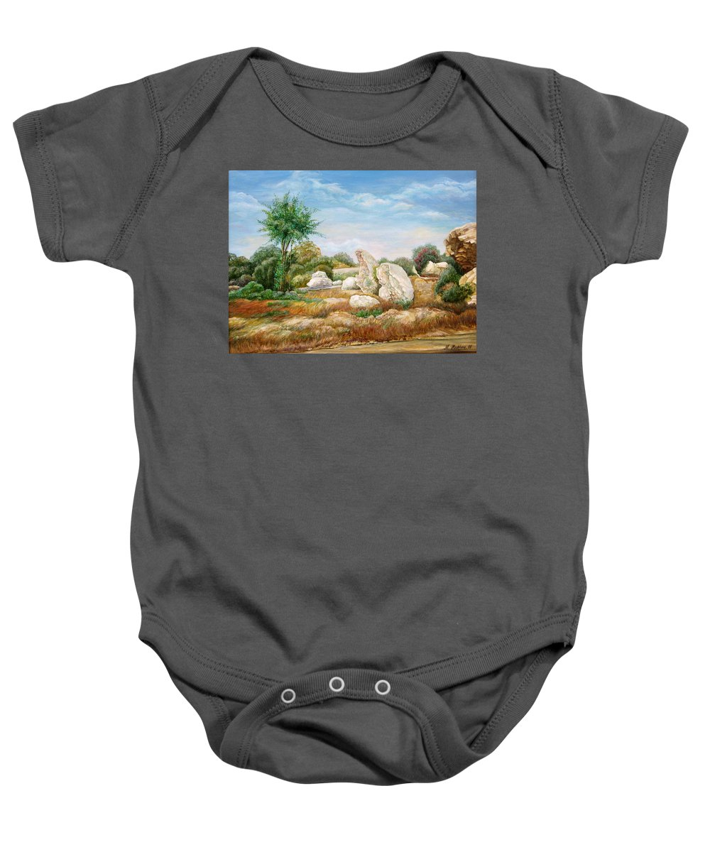 Painting Trees And Shrubs Baby Onesie featuring the painting Centuries-old Guard ... by Maya Bukhina