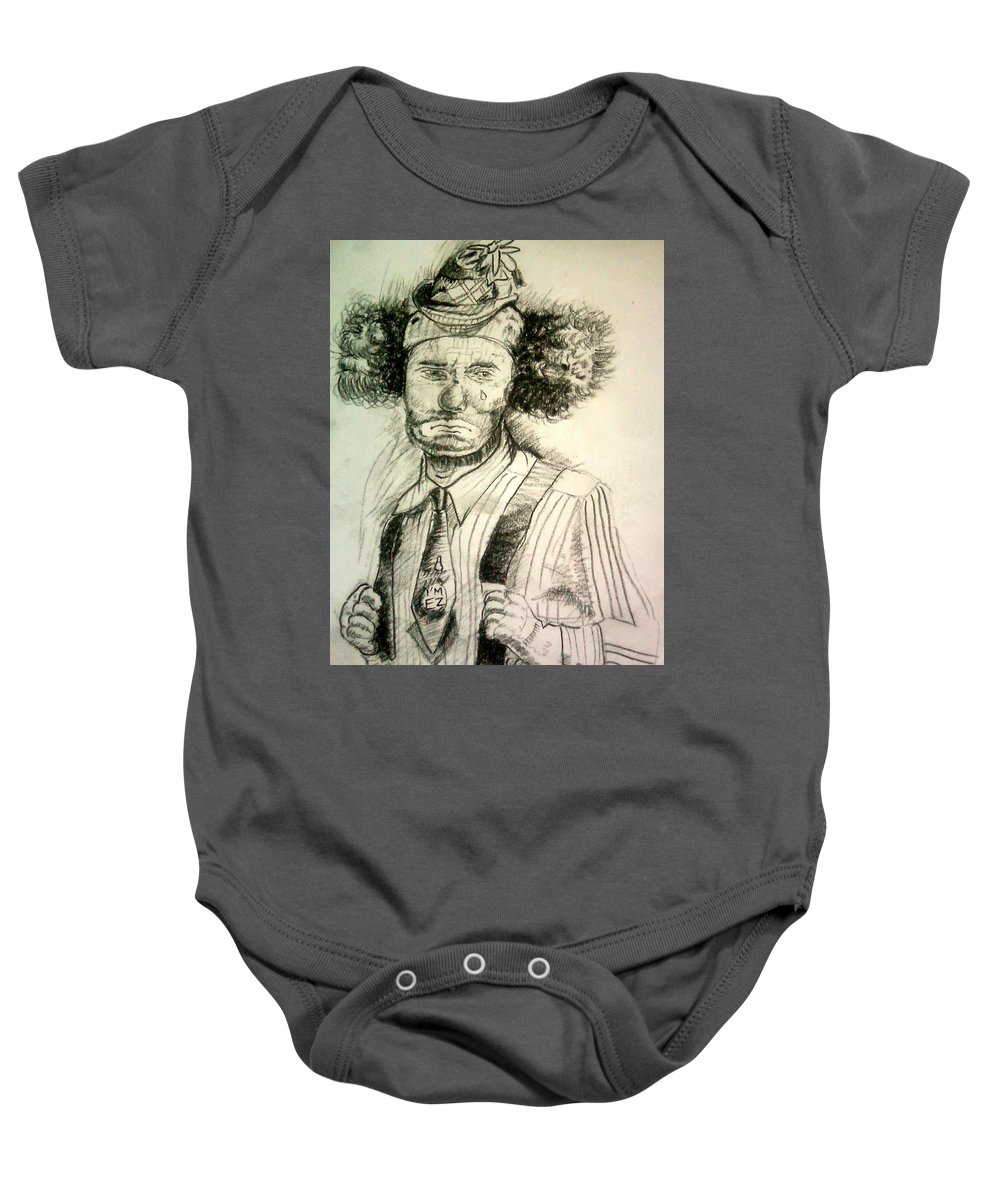 Clown Baby Onesie featuring the drawing Ceremonial Clown by Olaoluwa Smith
