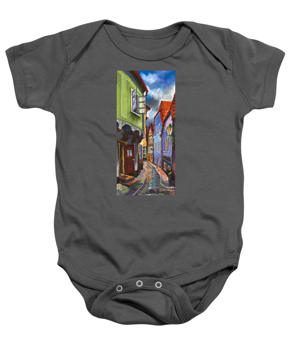 Pastel Chesky Krumlov Old Street Architectur Baby Onesie featuring the painting Cesky Krumlov Old Street 1 by Yuriy Shevchuk