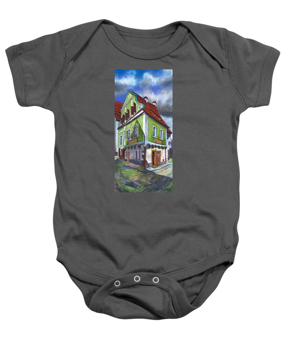 Pastel Chesky Krumlov Old Street Cityscape Realism Architectur Baby Onesie featuring the painting Cesky Krumlov Old Street 3 by Yuriy Shevchuk