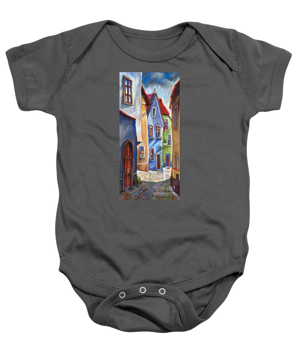 Cityscape Baby Onesie featuring the painting Cesky Krumlov Old Street by Yuriy Shevchuk
