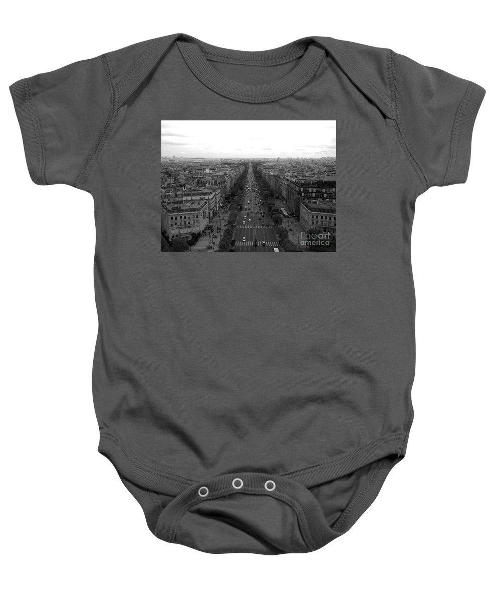 Champs Elysees Baby Onesie featuring the photograph Champs Elysees In Paris by Maria Pogoda