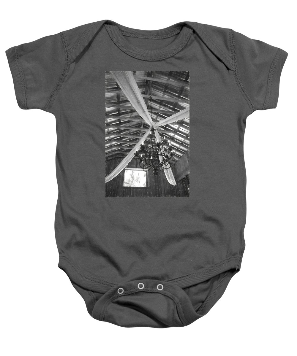Delamater House Baby Onesie featuring the photograph Chandelier In The Rafters by Alice Gipson