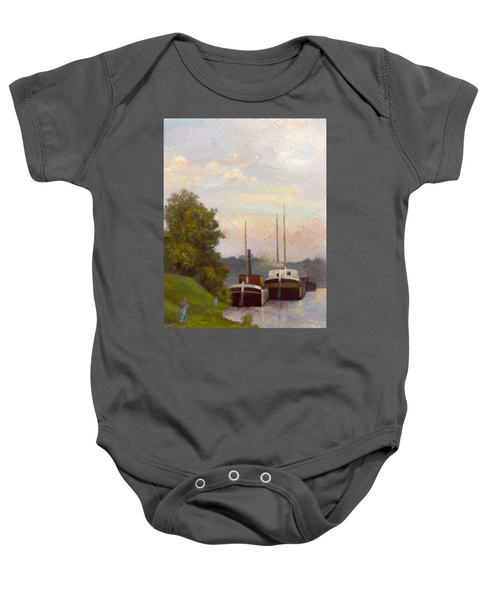Charlands Baby Onesie featuring the painting Charlands Sur La Seine 1885 by DuboisPillet Albert