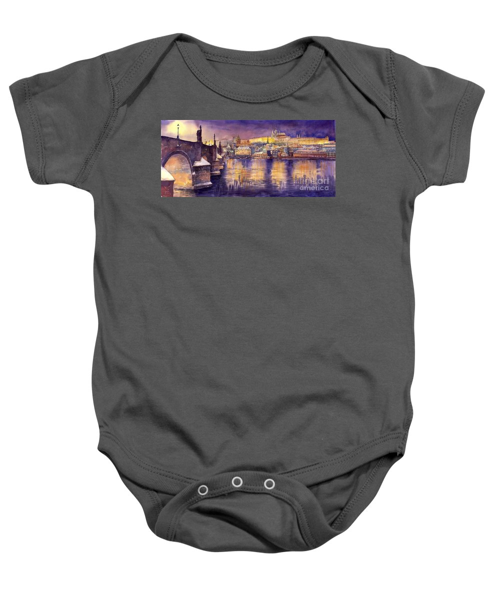 Cityscape Baby Onesie featuring the painting Charles Bridge And Prague Castle With The Vltava River by Yuriy Shevchuk