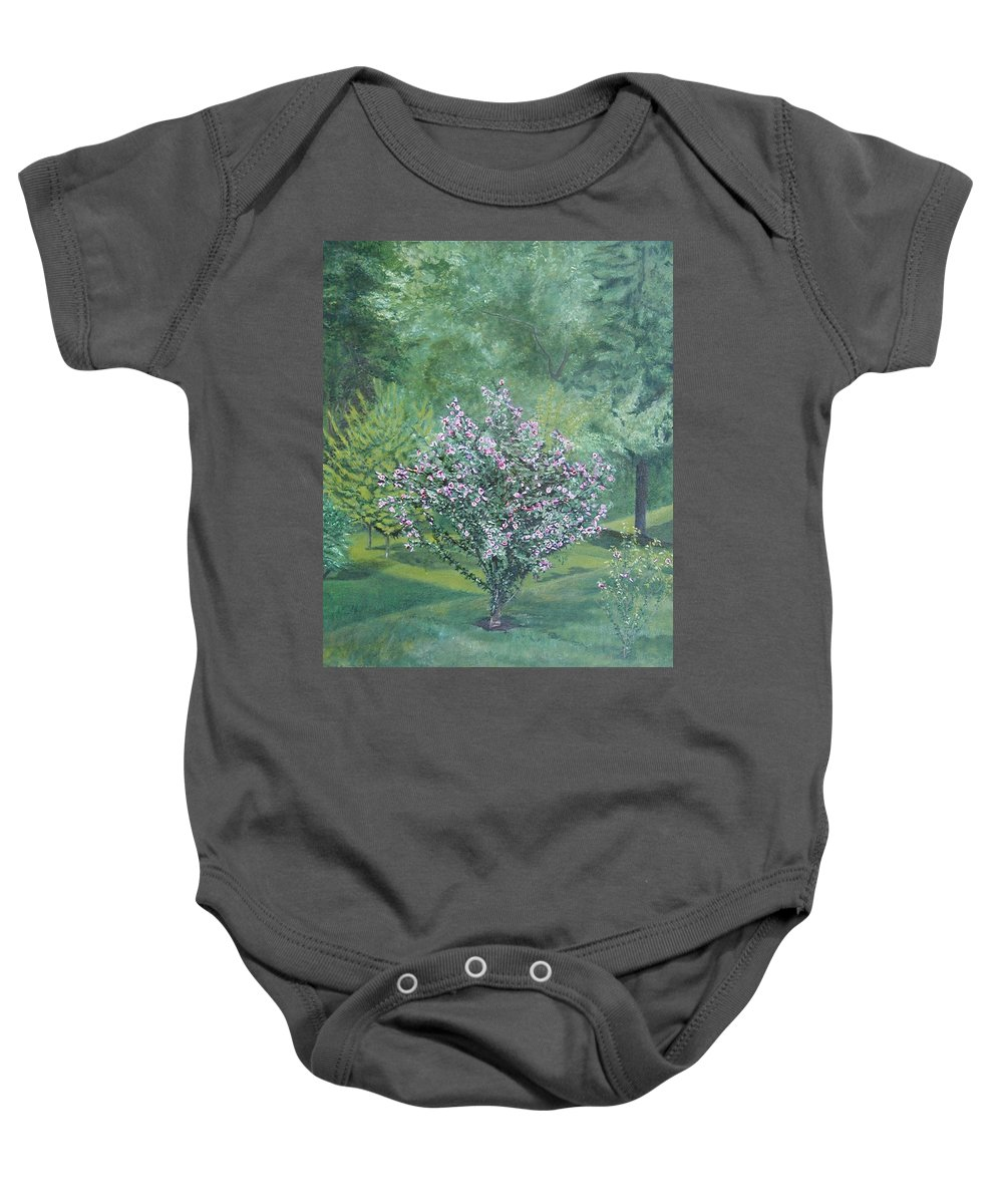 Blooming Baby Onesie featuring the painting Charles Street by Leah Tomaino