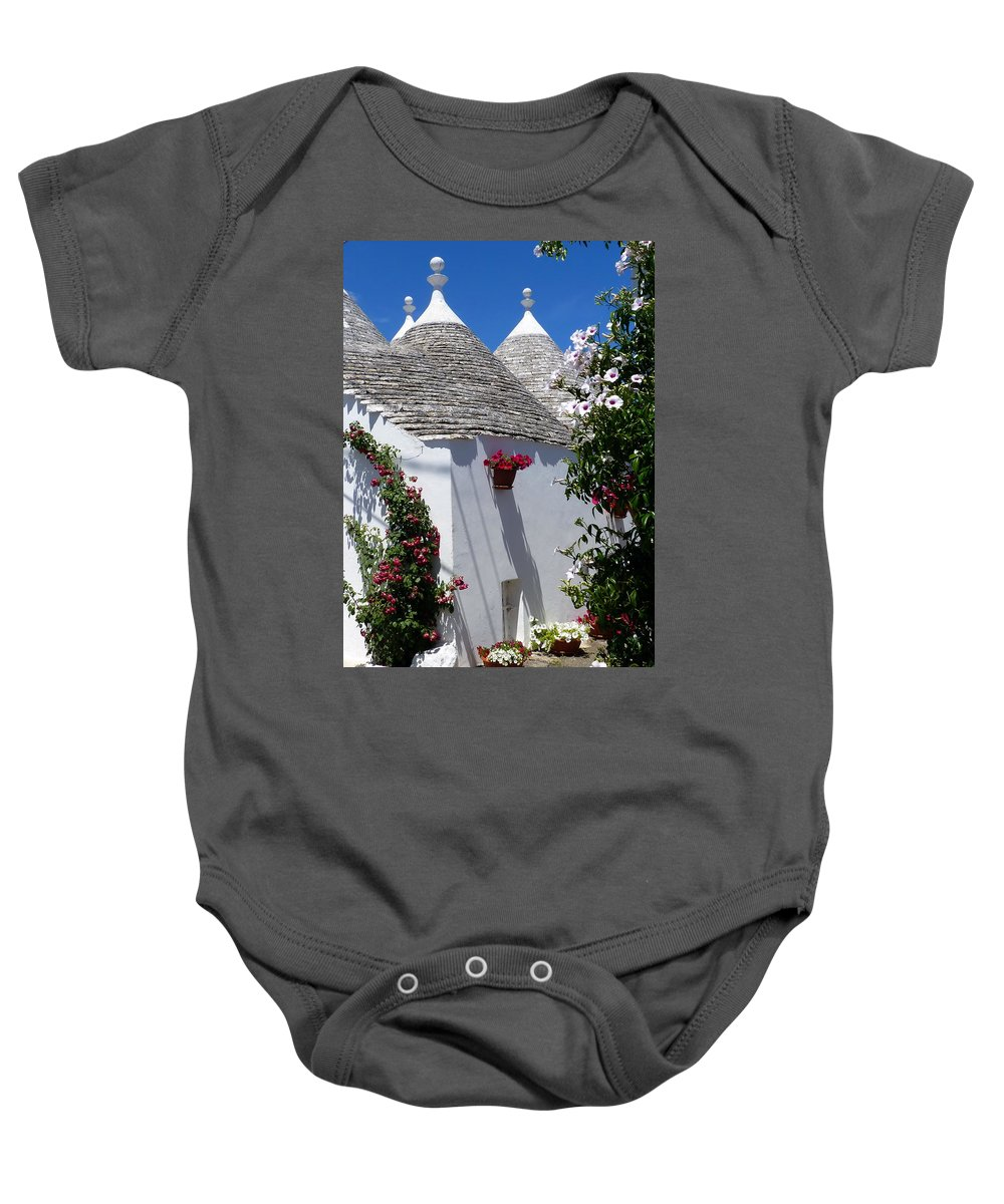 Alberobello Baby Onesie featuring the photograph Charming Trulli by Carla Parris