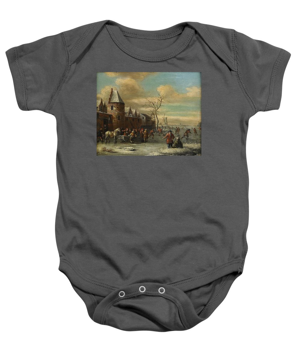 Thomas Heeremans Circle Of Baby Onesie featuring the painting Charriot And Skaters by Thomas