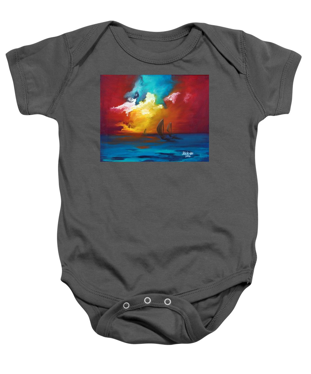 Oil Baby Onesie featuring the painting Chase by Jennifer Hickman
