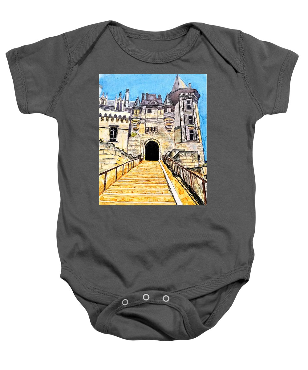Alcohol Ink Baby Onesie featuring the painting Chateau Saumur, A Long Way Up by Marcella Chapman