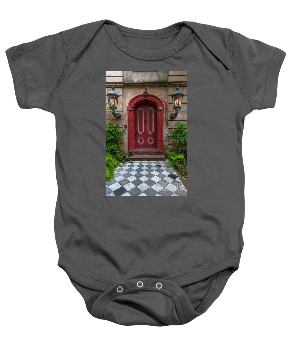 Charleston Baby Onesie featuring the photograph Checkered Tiles by Dale Powell
