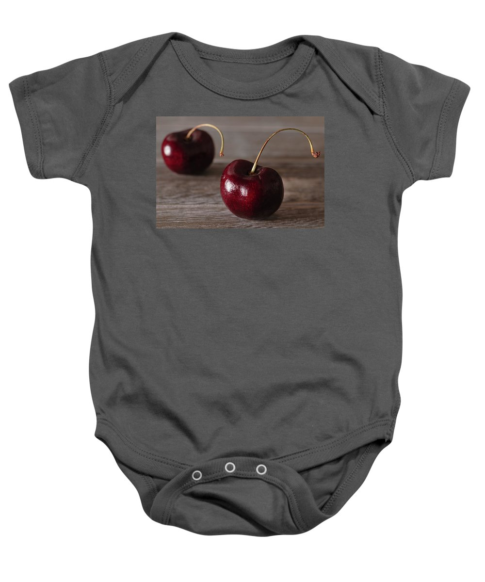 Food Baby Onesie featuring the photograph Cherries by Hanna Tor