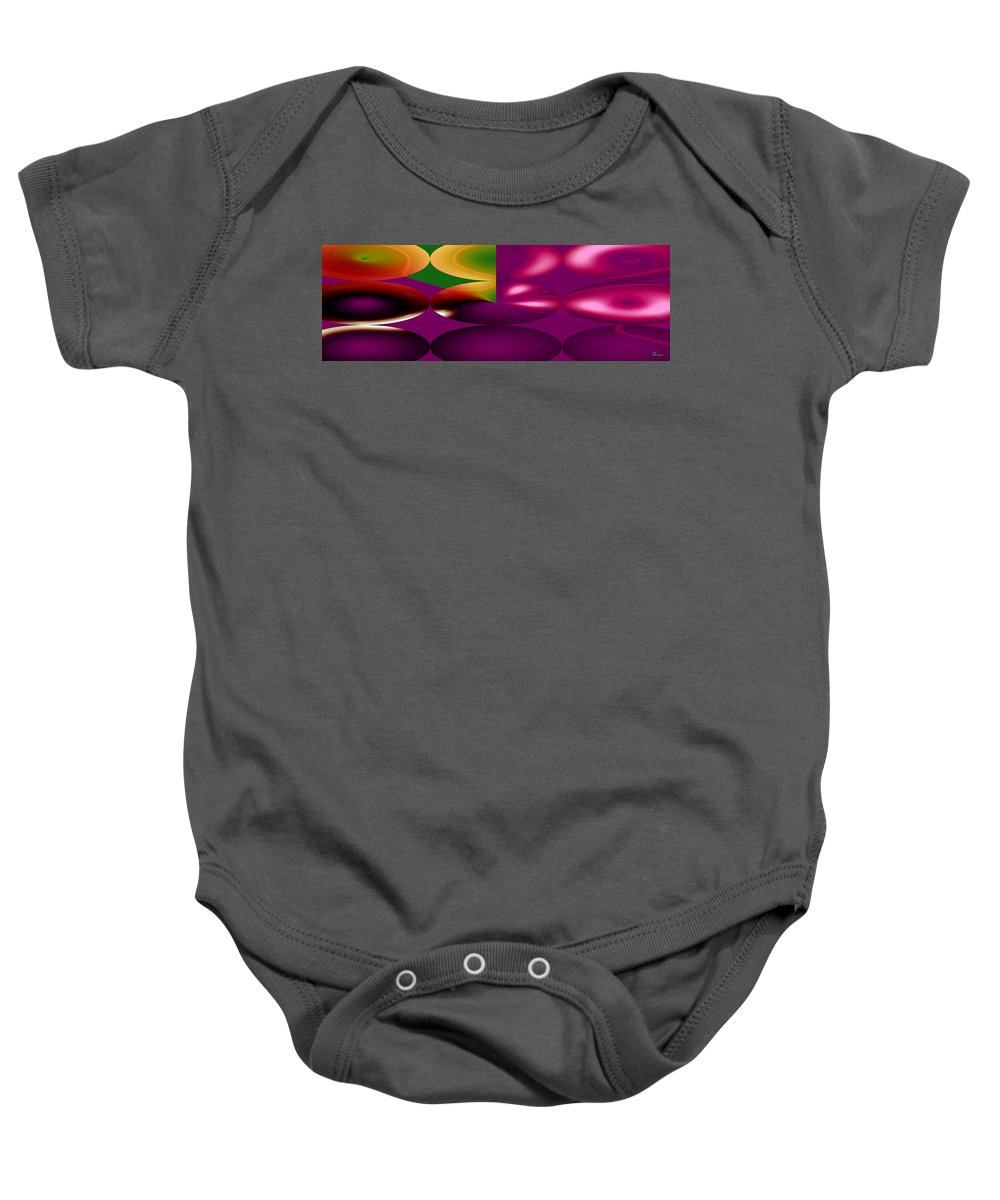 Cherry Cherries Fruit Abstract Orange Purple Green Food Plants Baby Onesie featuring the digital art Cherry by Andrea Lawrence