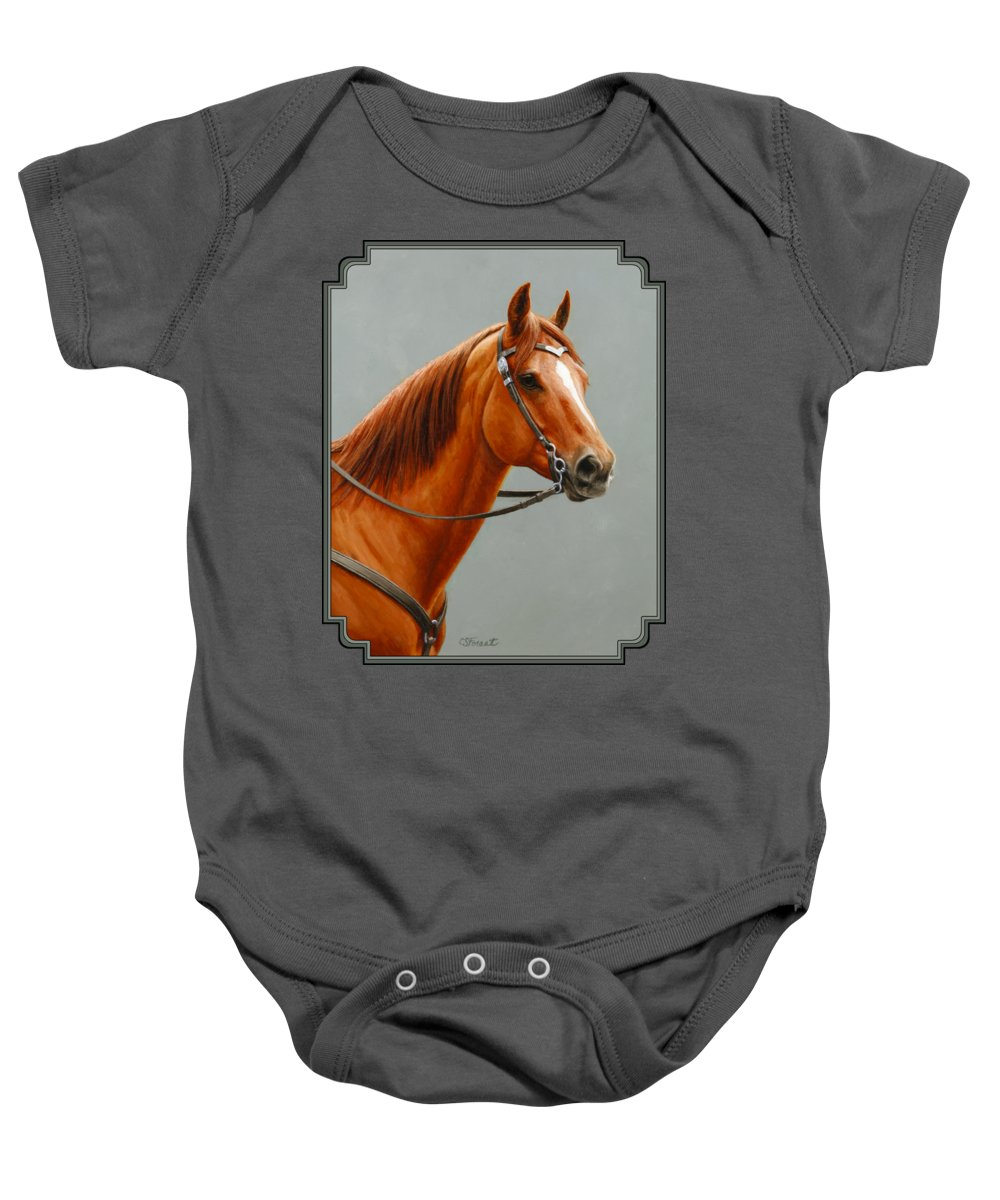 Horse Baby Onesie featuring the painting Chestnut Dun Horse Painting by Crista Forest