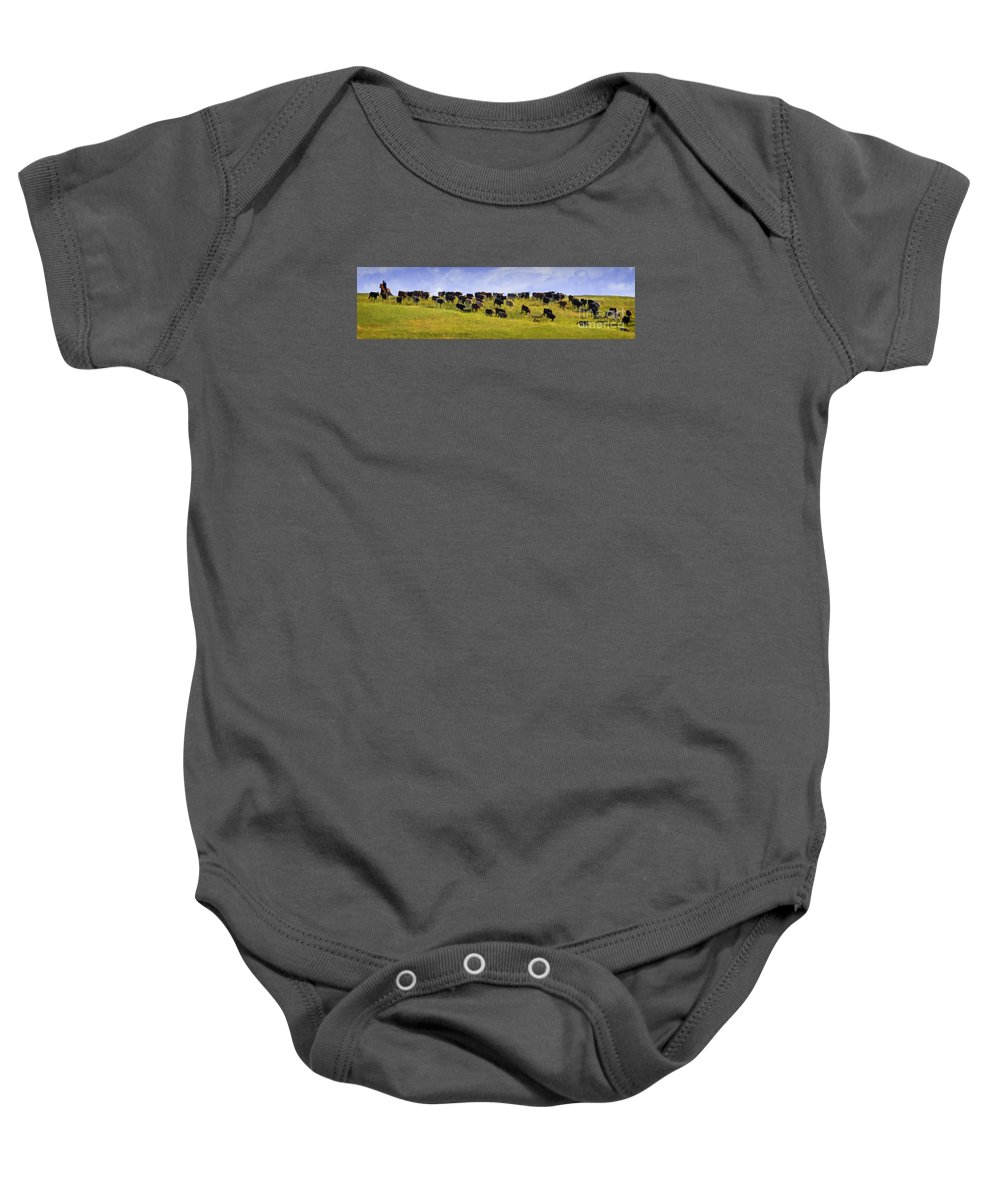 Cheyenne Cattle Roundup Baby Onesie featuring the photograph Cheyenne Cattle Roundup by Priscilla Burgers