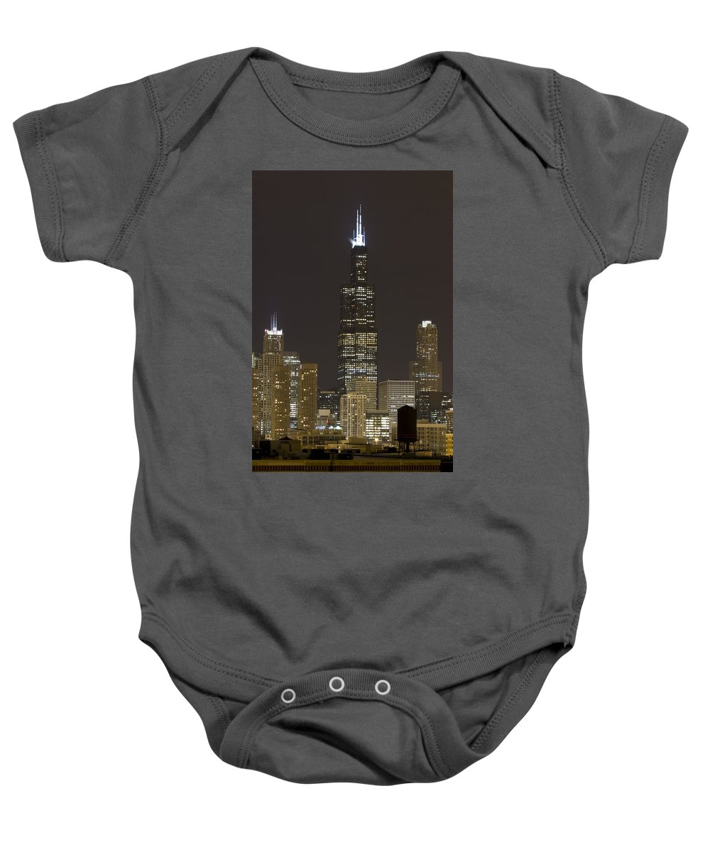 City Sky Skyline Wind Windy Windycity Il Chicago Night Dark Light Lights Street Building Tall House Baby Onesie featuring the photograph Chicago At Night by Andrei Shliakhau