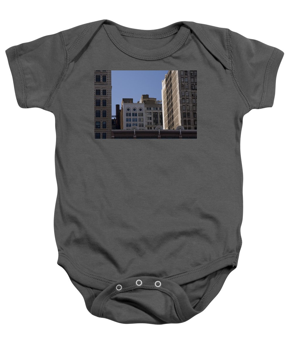 Chicago City Wind Windy Metro Urban Building Blue Sky Tall Big Windows Baby Onesie featuring the photograph Chicago Buildings by Andrei Shliakhau