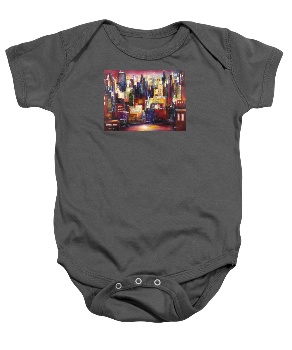 Chicago Art Baby Onesie featuring the painting Chicago City View by Kathleen Patrick