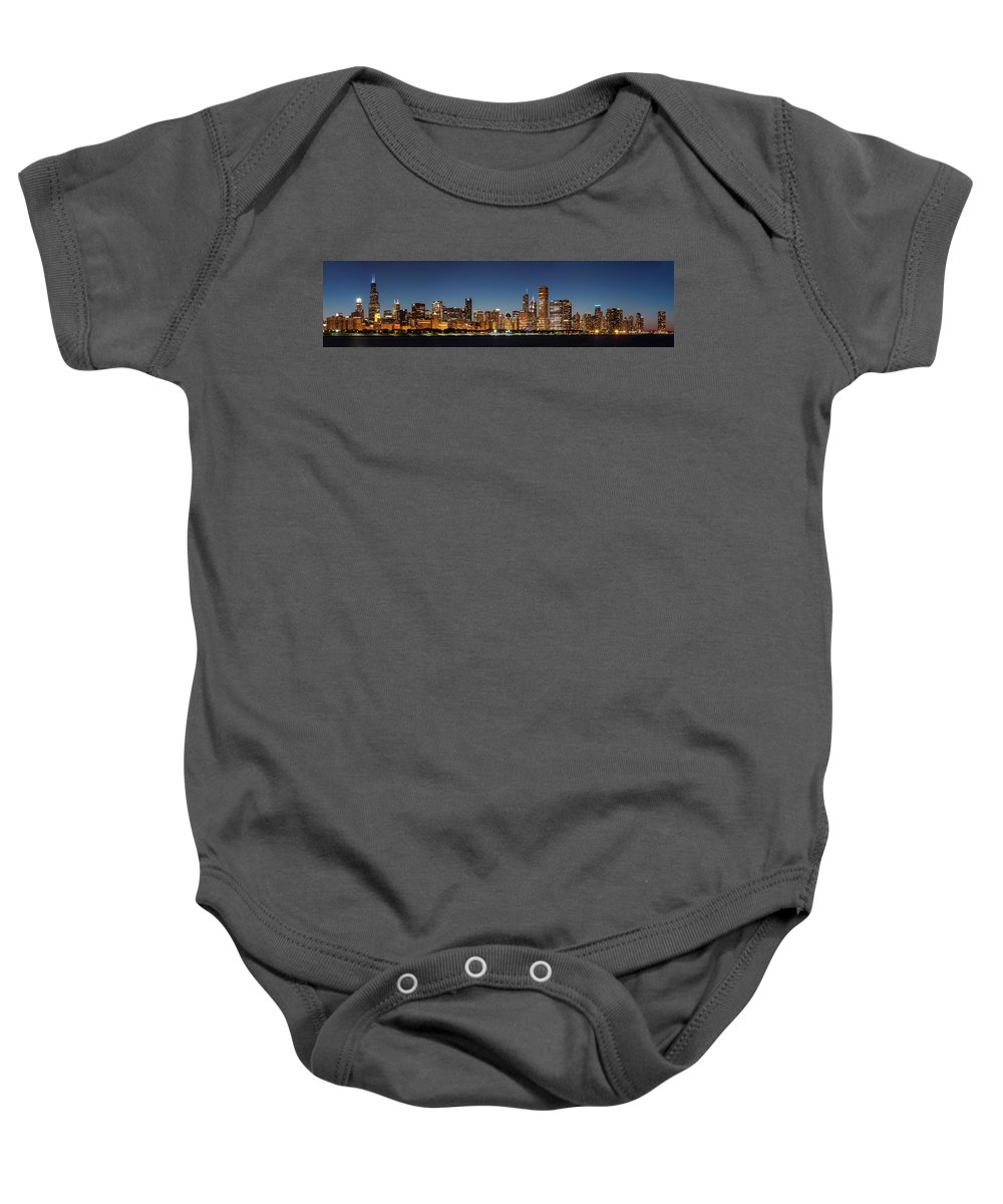 Aon Center Baby Onesie featuring the photograph Chicago Downtown Skyline At Night by Semmick Photo