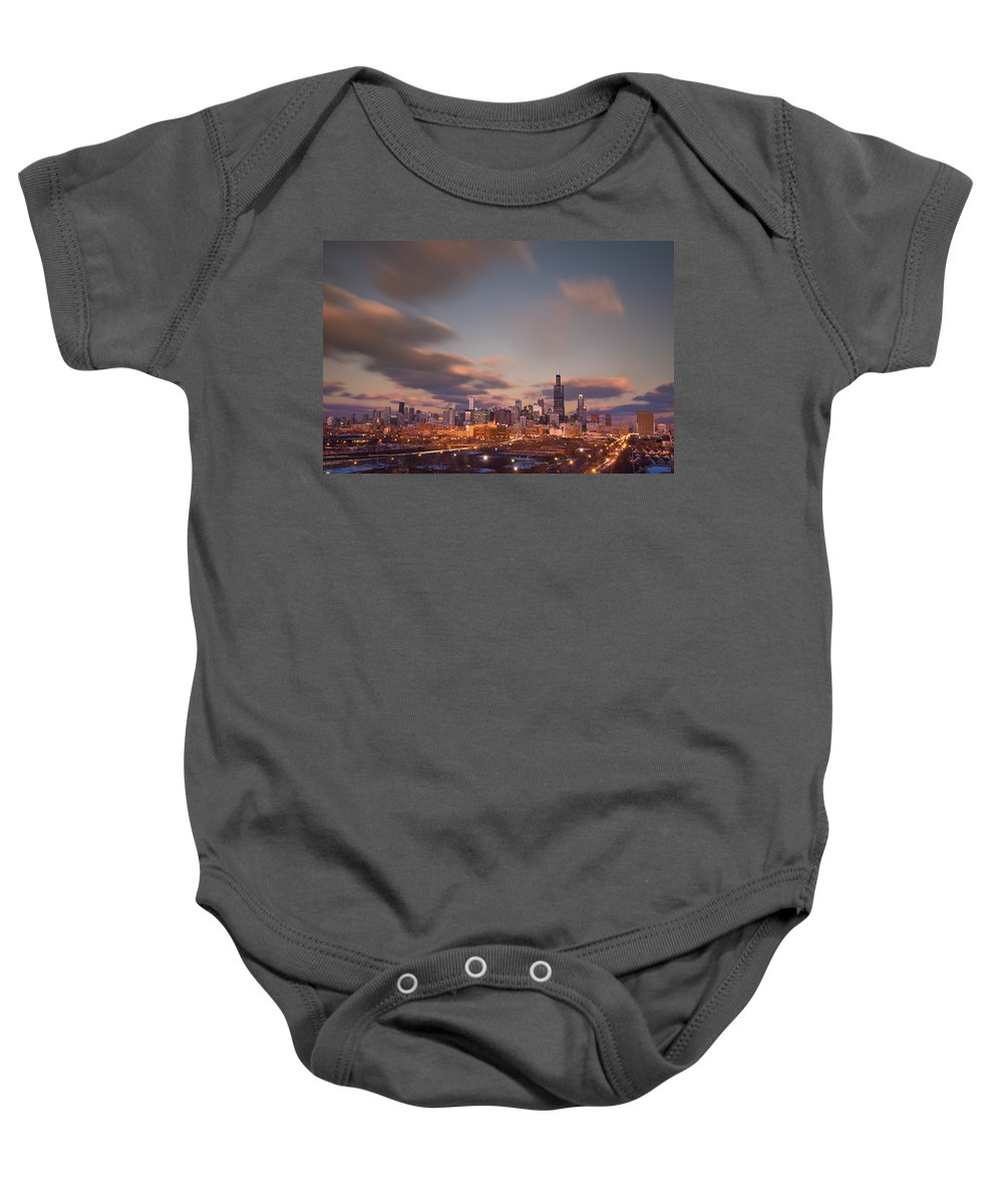 Loop Baby Onesie featuring the photograph Chicago Dusk by Steve Gadomski