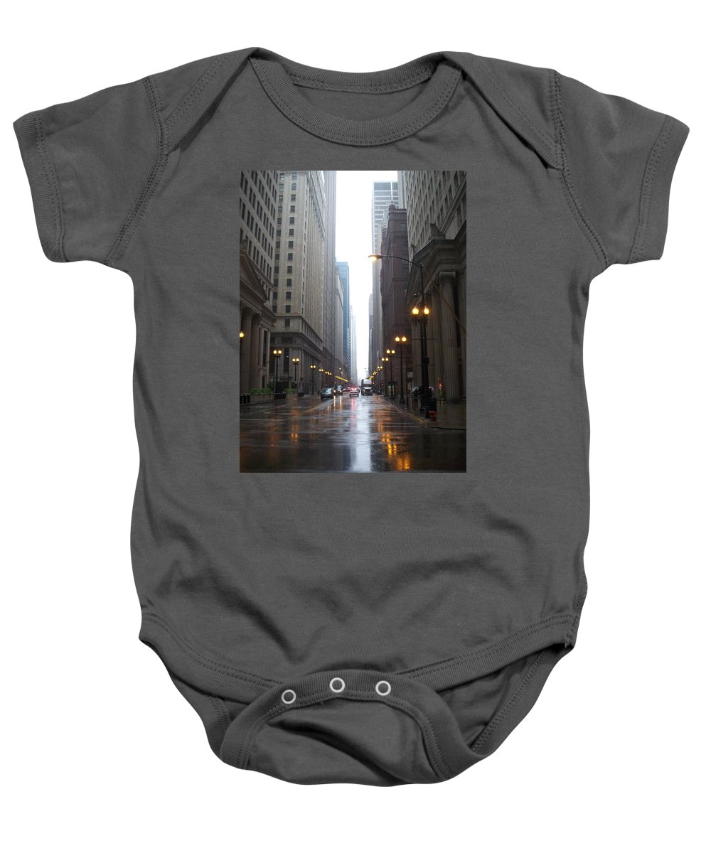 Chicago Baby Onesie featuring the photograph Chicago In The Rain 2 by Anita Burgermeister