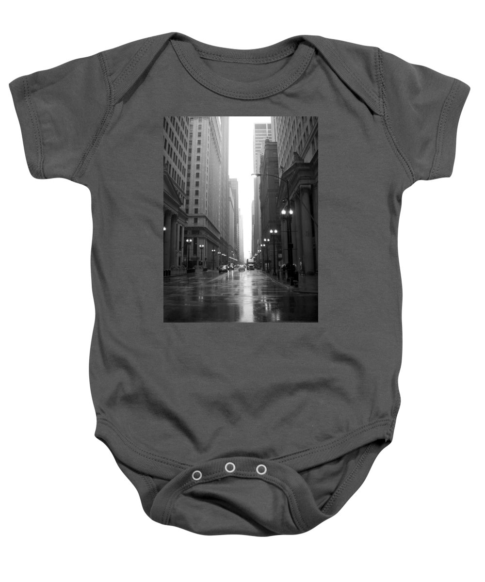 Chicago Baby Onesie featuring the photograph Chicago In The Rain 2 B-w by Anita Burgermeister