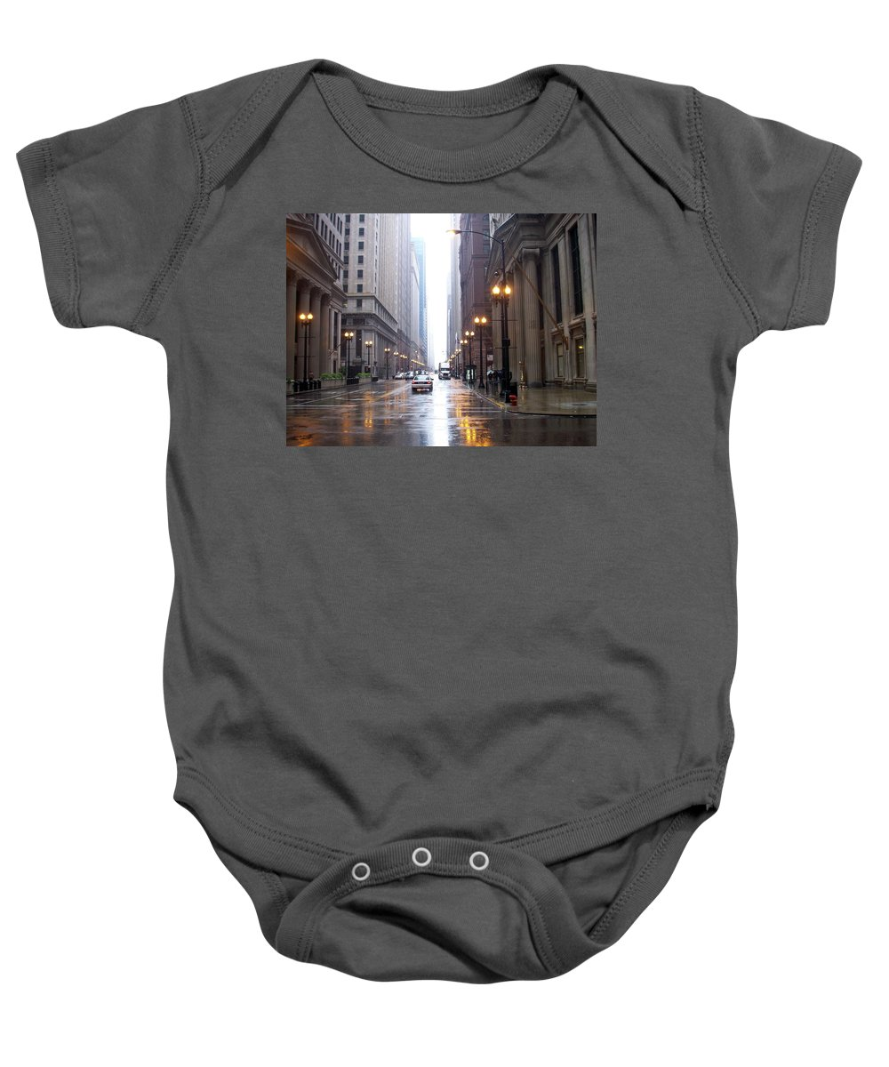 Chicago Baby Onesie featuring the photograph Chicago In The Rain by Anita Burgermeister