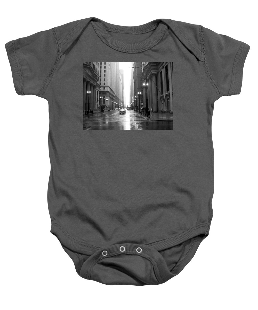 Chicago Baby Onesie featuring the photograph Chicago In The Rain B-w by Anita Burgermeister