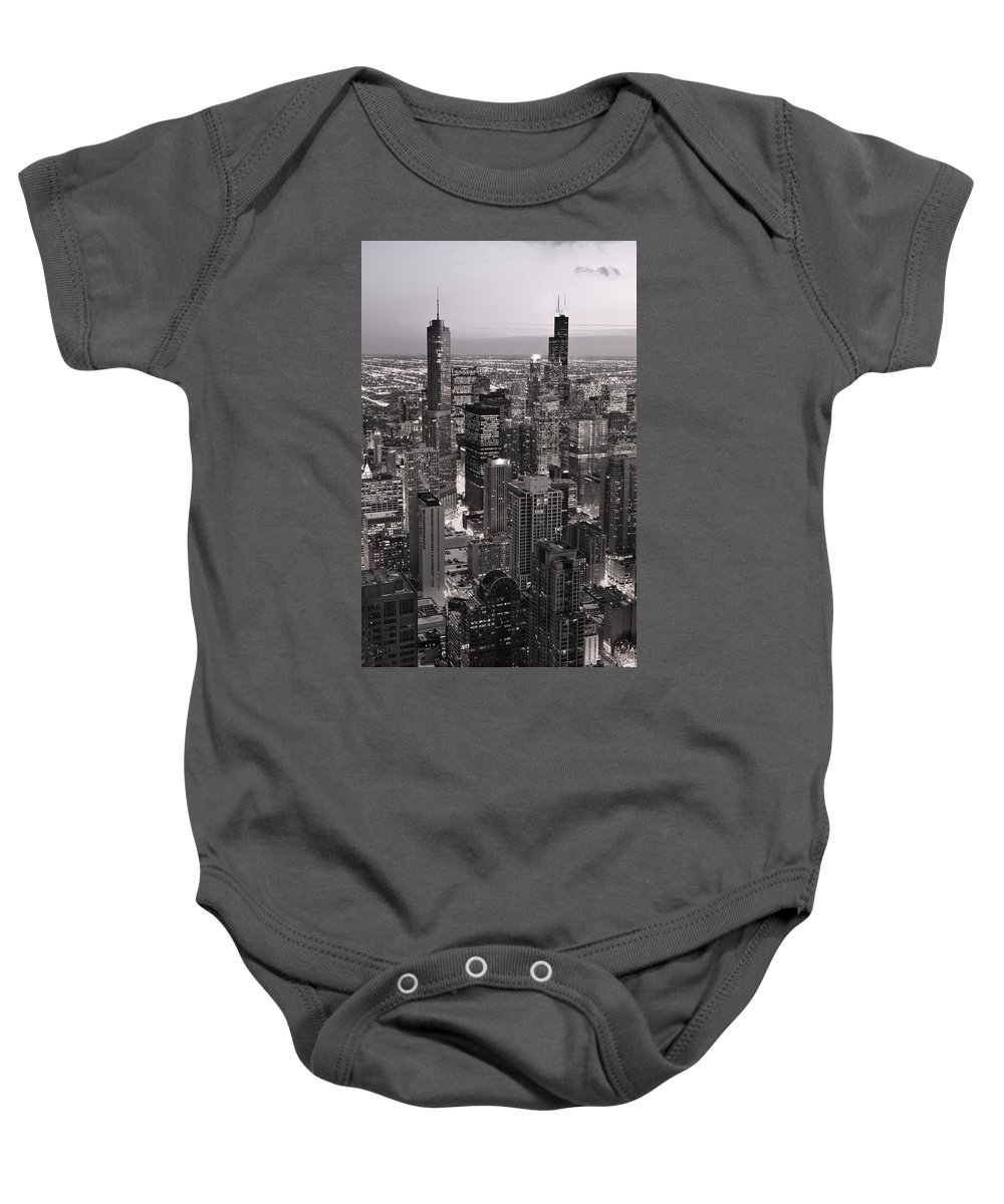 Aerial Baby Onesie featuring the photograph Chicago Loop Sundown B And W by Steve Gadomski