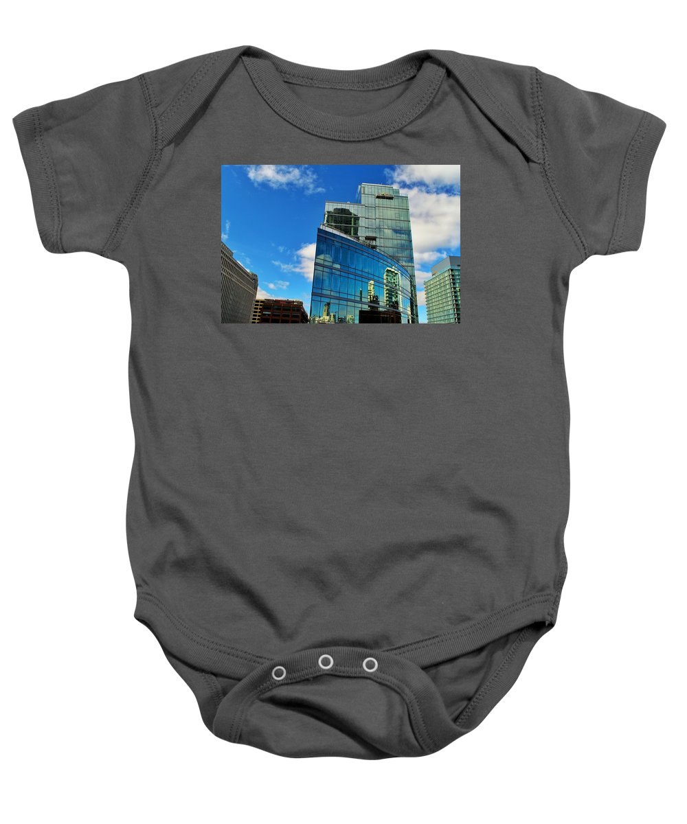 Chicago Baby Onesie featuring the photograph Chicago Reflection by Joseph Caban