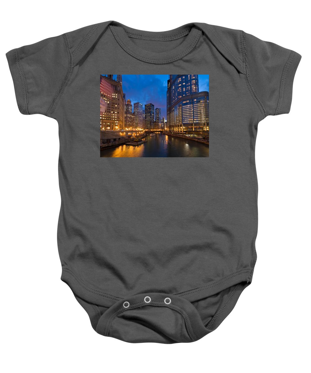 Architecture Baby Onesie featuring the photograph Chicago River Lights by Steve Gadomski